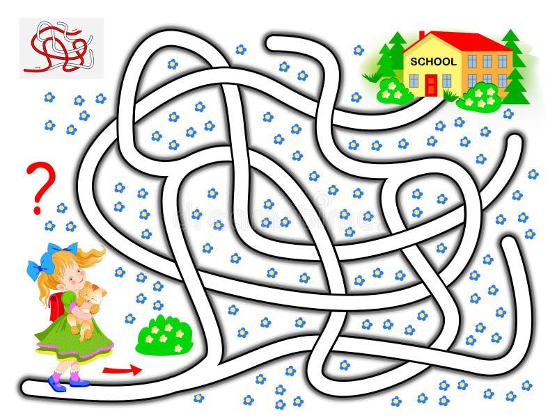 Logikpuzzle mit Kinderlabyrinth Hilf dem kleinen Mädchen, den Weg bis zur Schule zu finden vektor abbildung