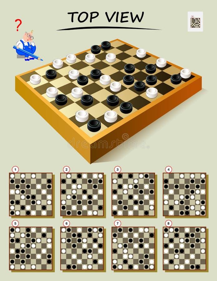 Logikrätselspiel, damit intelligentester Bedarf korrekte Draufsicht des Schachbrettes findet Bedruckbare Seite für Buch der Gehir stock abbildung