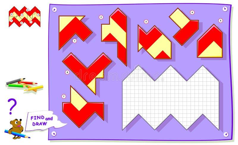 Logikrätselspiel für Babymalbuch Müssen Sie den Platz für jedes Detail finden und weiße Quadrate malen vektor abbildung