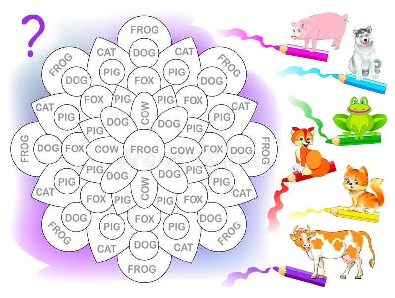 Logikrätselspiel für Kinder für Studie Englisch Lesen Sie die Wörter und malen Sie Blume in entsprechender Farbe jedes Tieres stock abbildung