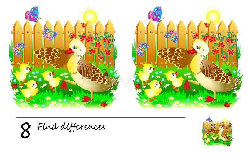 Logikrätselspiel für Kinder und Erwachsene Bedarf, 8 Unterschiede zu finden Sich entwickelnde Fähigkeiten für die Zählung lizenzfreie abbildung