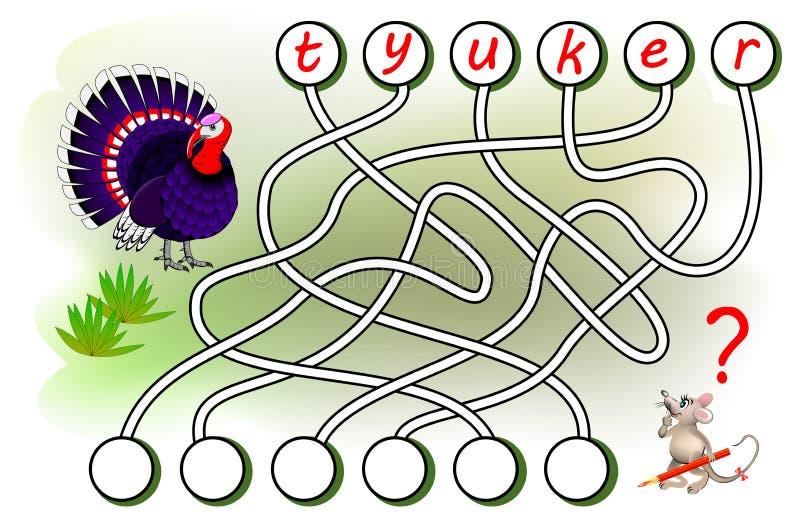 Logikrätselspiel für Studie Englisch Finden Sie die korrekten Plätze für Buchstaben, schreiben Sie sie in relevante Kreise und da lizenzfreie abbildung