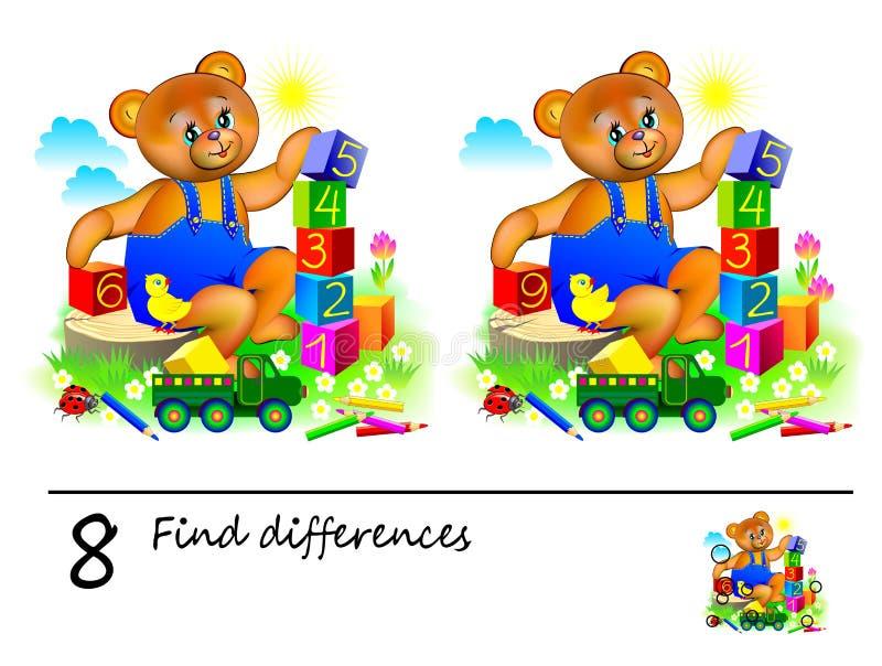 Logikr?tselspiel f?r Kinder Bedarf, 8 Unterschiede zu finden Bedruckbare Seite für Kinderdenkaufgabebuch lizenzfreie abbildung