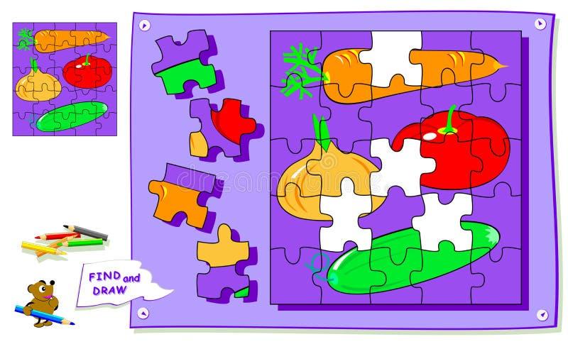 Logikr?tselspiel f?r Kinder Müssen Sie den Platz für jedes Detail und Farbengemüse finden Arbeitsblatt f?r Schullehrbuch stock abbildung