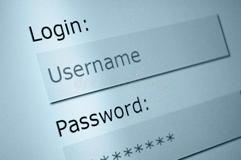 Login. Username and Password in Internet Browser on Computer Screen