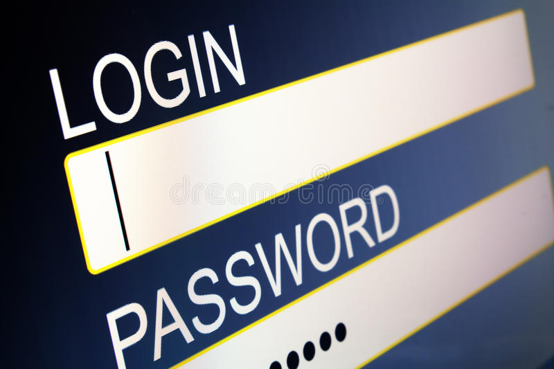 Login. Computer screen with security access for login stock images