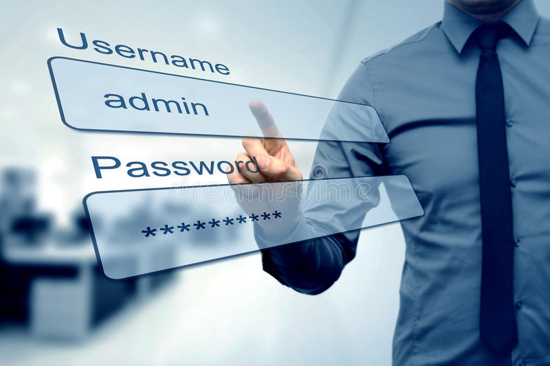 Login box - finger pushing username and password fields stock photography