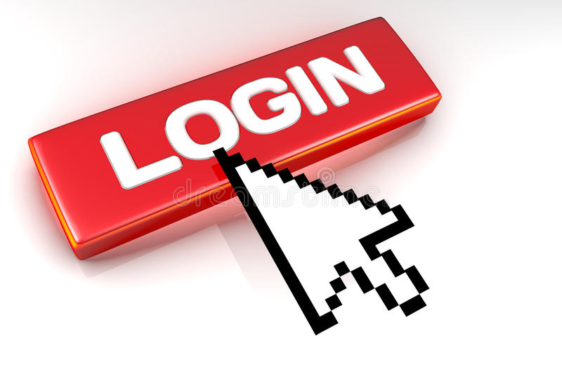 Login button with mouse cursor over. stock images