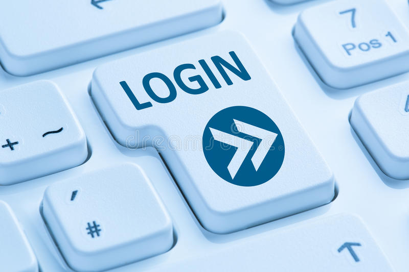 Login button submit blue computer keyboard stock photo