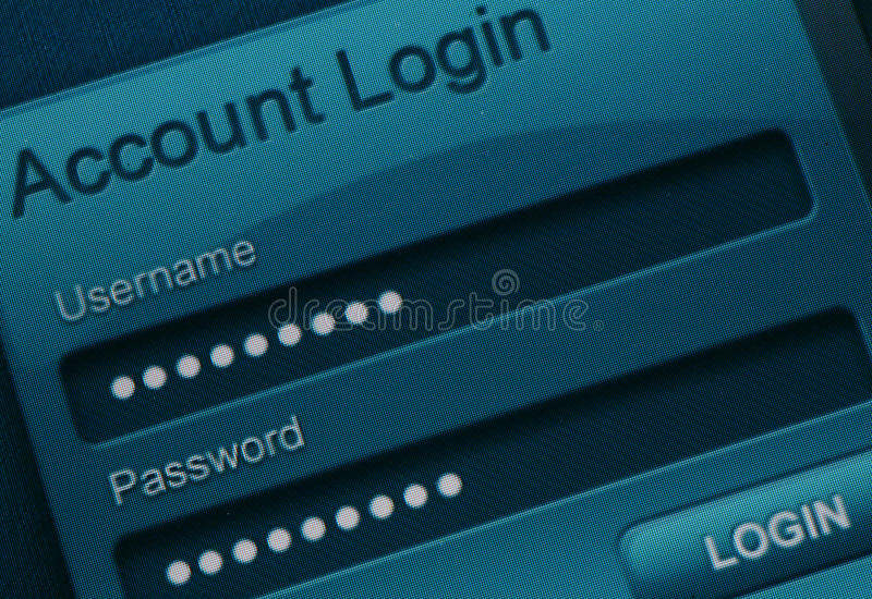 Login de site Web photographie stock