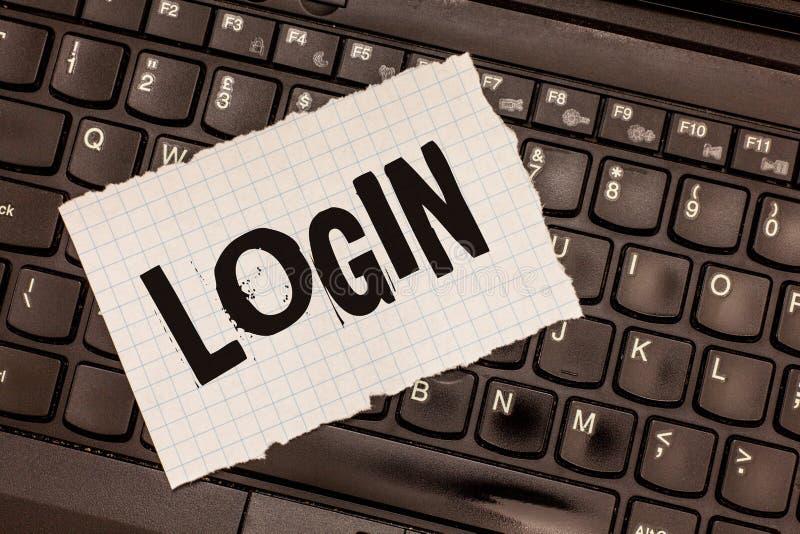 Login des textes d'écriture de Word Concept d'affaires pour le blog entrant de site Web utilisant l'enregistrement d'username et  photo stock