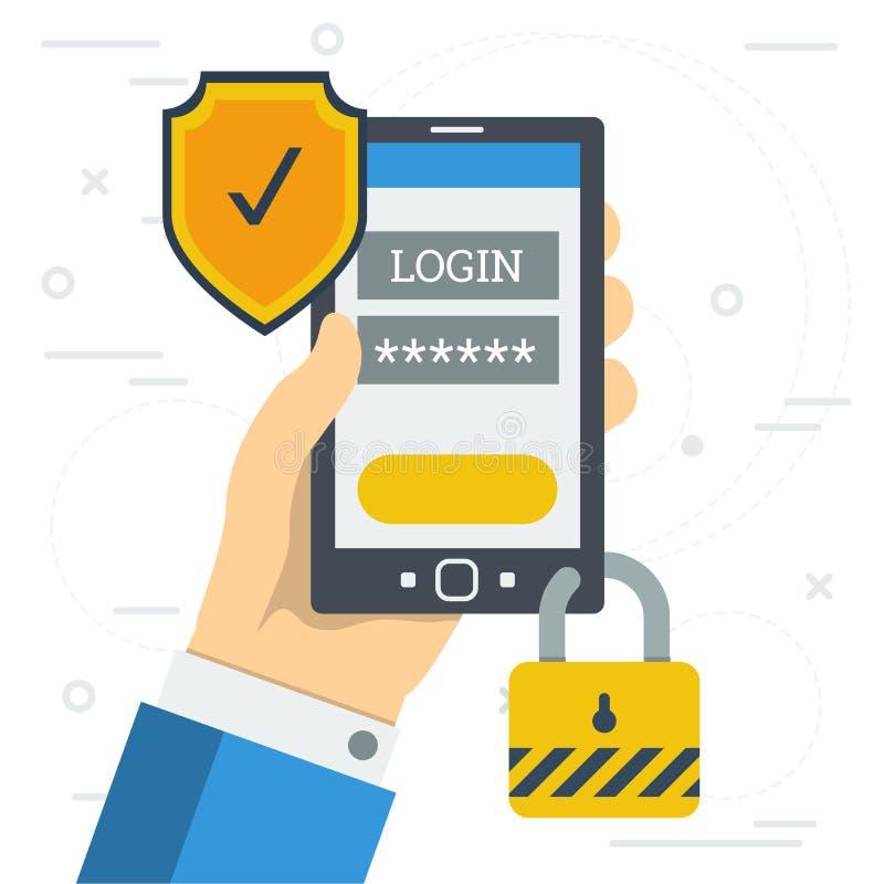 Login et mot de passe quand vous identifiez-vous au smartphone illustration stock