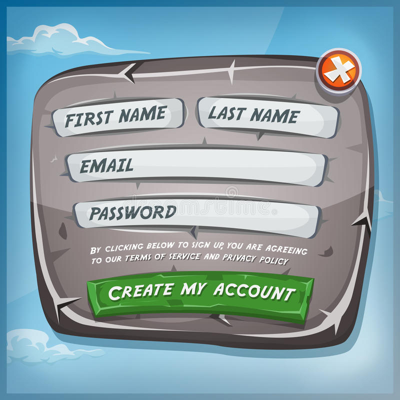 Login Form On Stone Panel For Ui Game Stock Vector - Image: 60159500