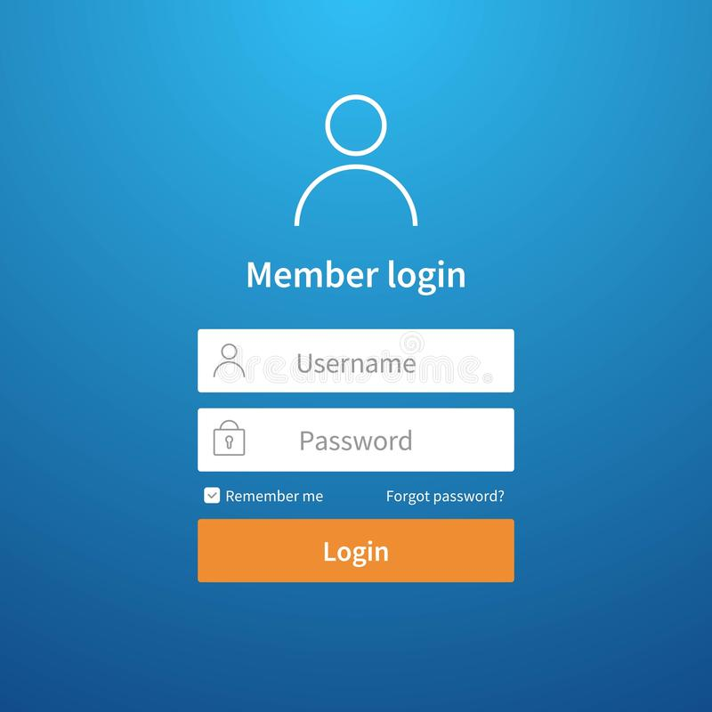 Login form. Website ui account screen page register user interface profile entry submit network vector login template. Login form. Website ui account screen page vector illustration