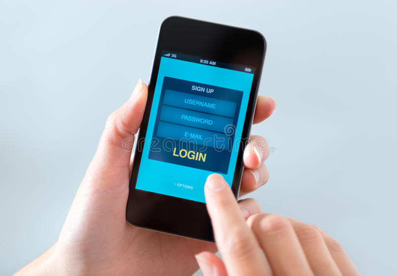 Login form window on mobile phone royalty free stock image