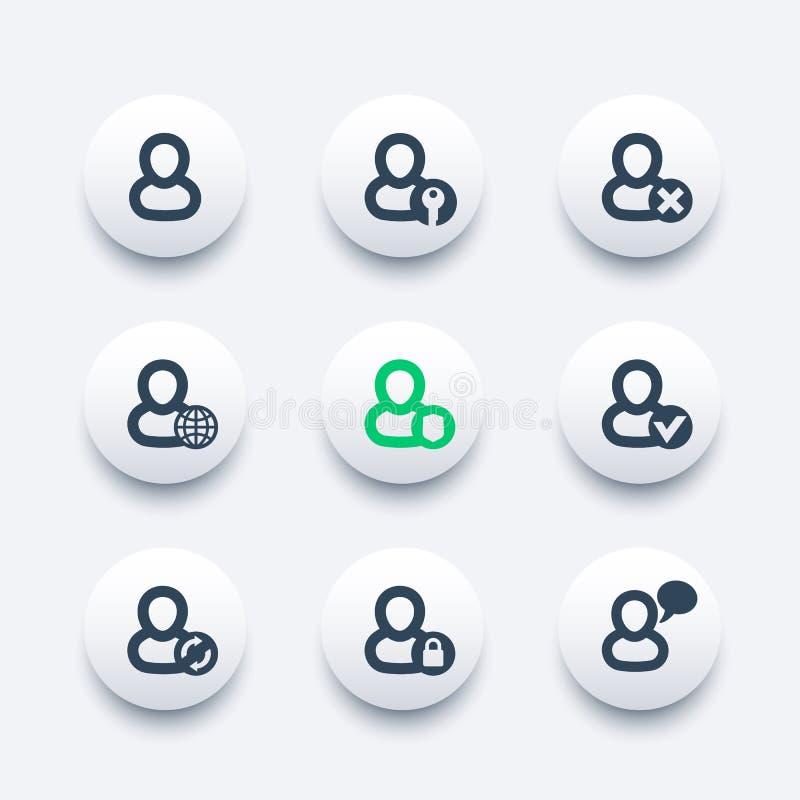 Login, icônes de compte réglées illustration libre de droits