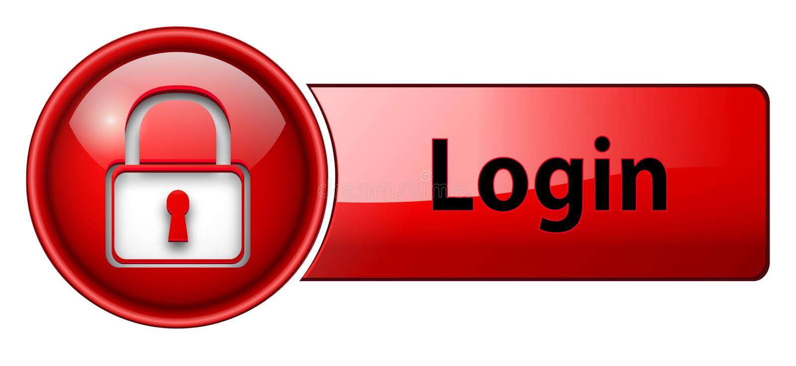Login icon button. Login, padlock icon button, red glossy, vector