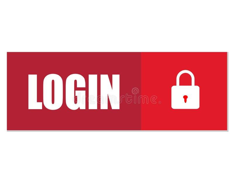 Login Knoop Login pictogram op witte achtergrond Vlakke stijl stock illustratie