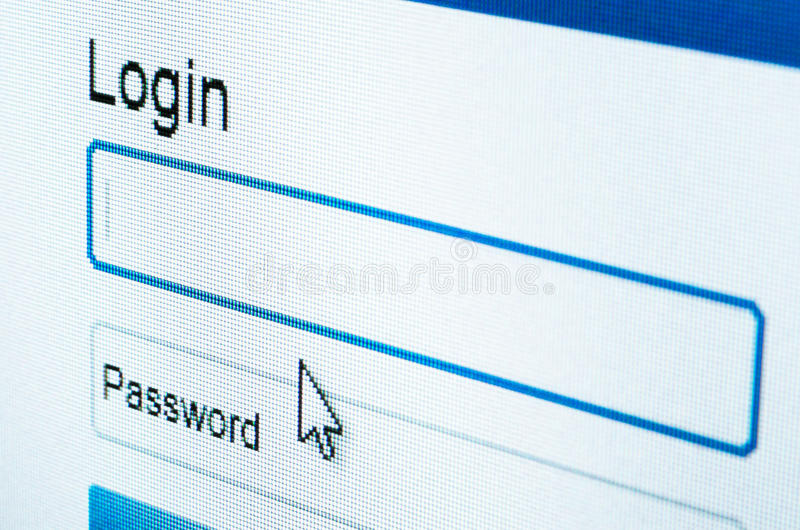 Login On LCD Screen Royalty Free Stock Image