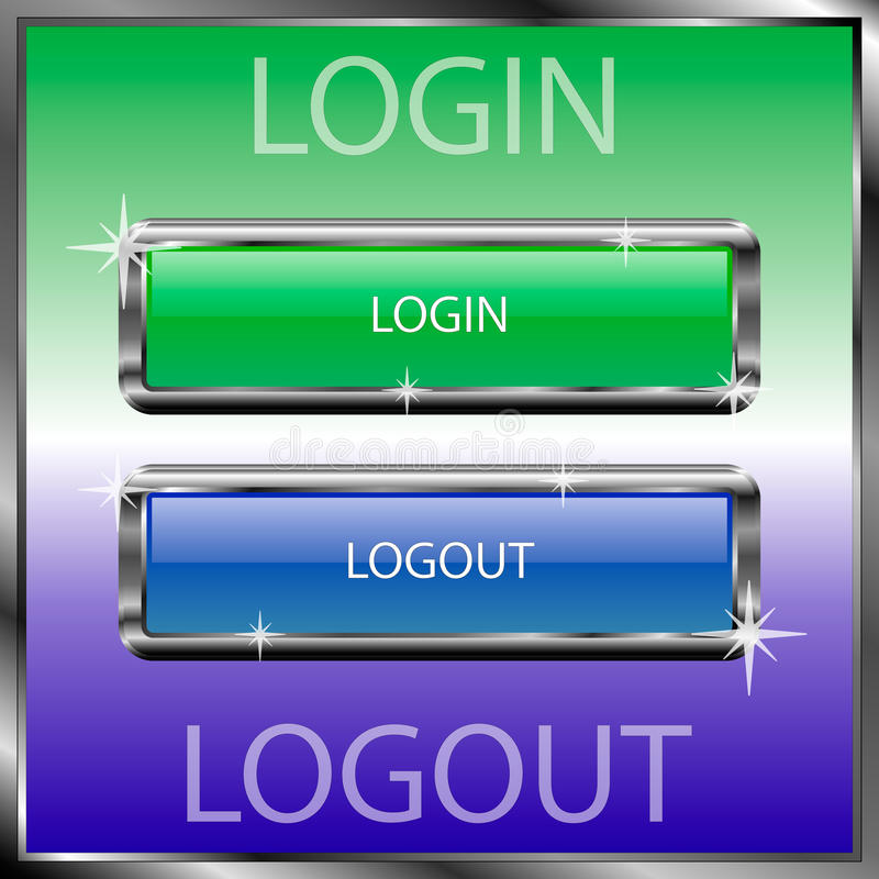 Login and logout buttons on a color reflective surface royalty free stock photo
