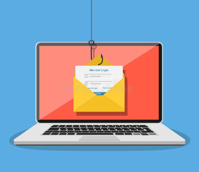 Login op rekening in e-mailenvelop royalty-vrije illustratie