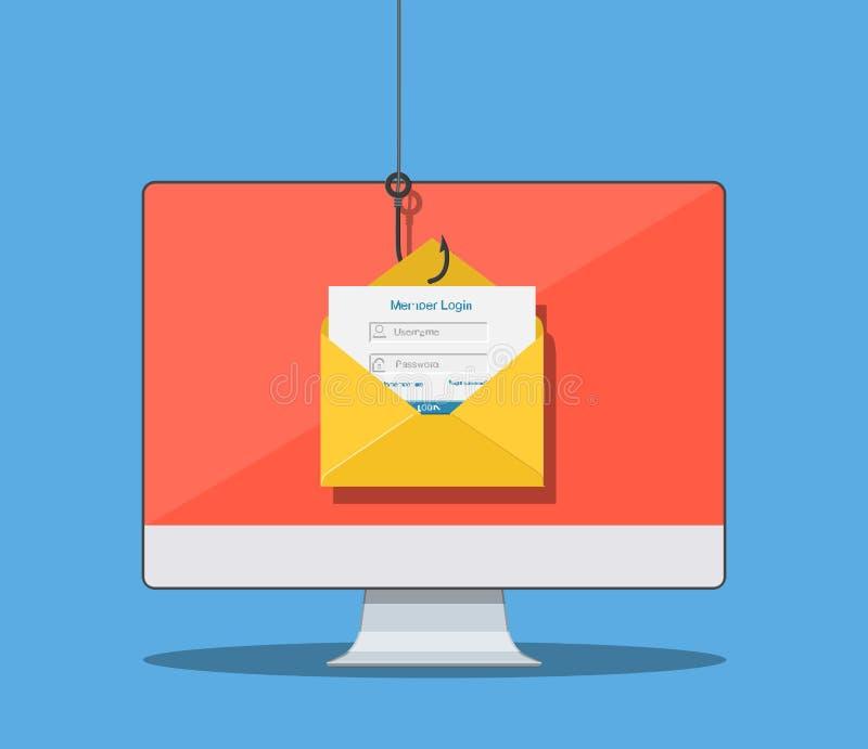 Login op rekening in e-mailenvelop stock illustratie