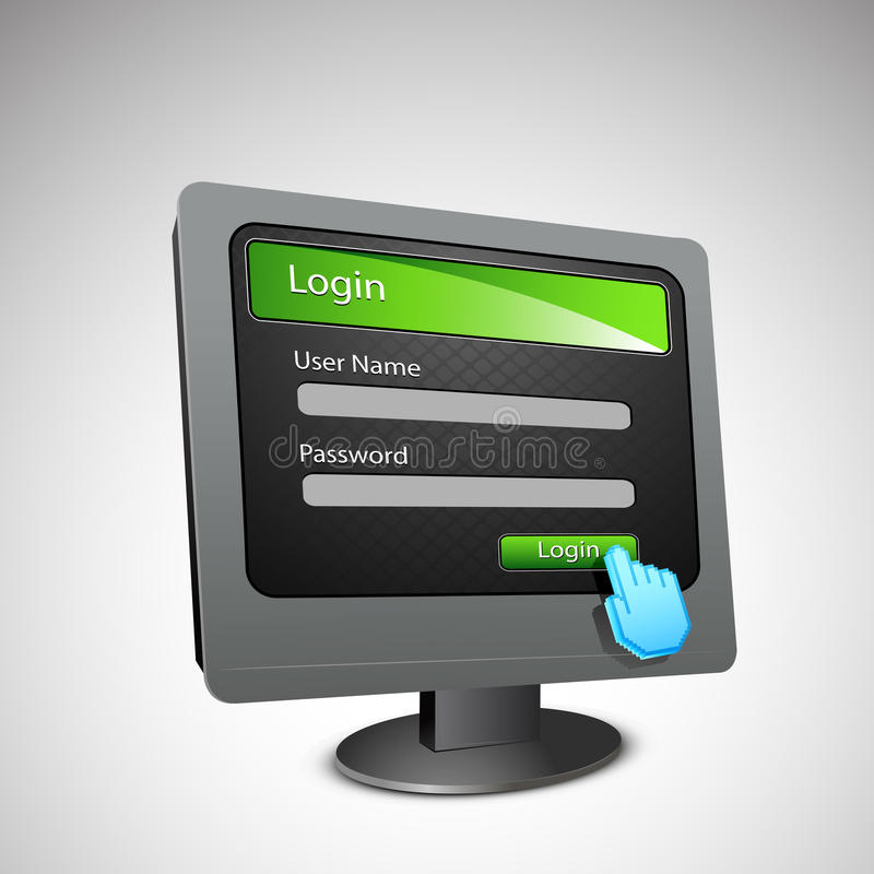 Download Login Page On Computer Screen Stock Vector - Image: 23940652