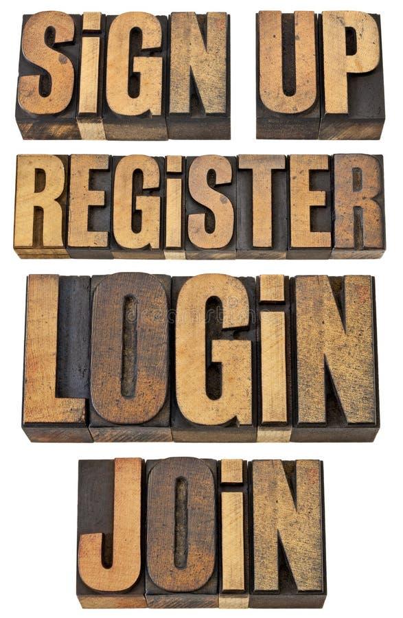 Login, register, treedt omhoog toe, ondertekent stock foto