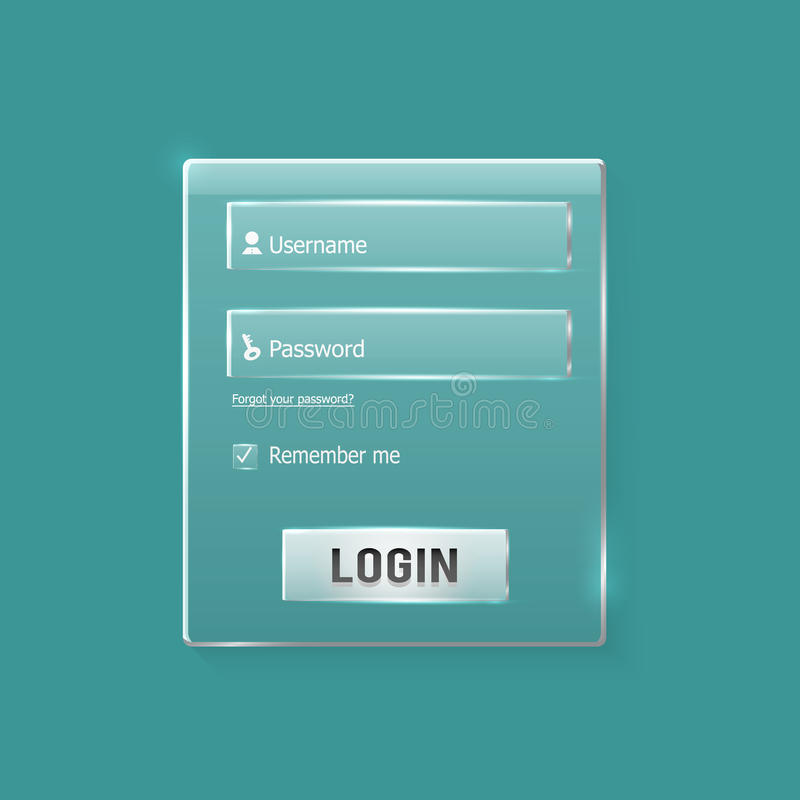 Login and register web glossy form. Modern glossy web card login form vector illustration