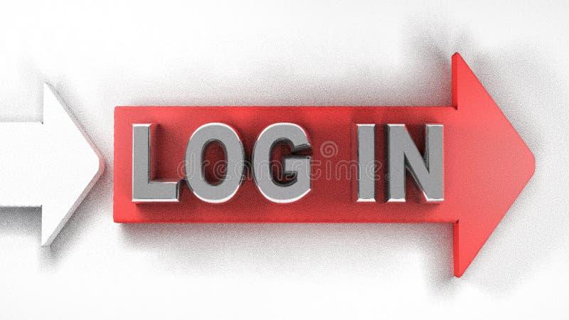 LOGIN rode pijl - 3D teruggevende illustratie vector illustratie