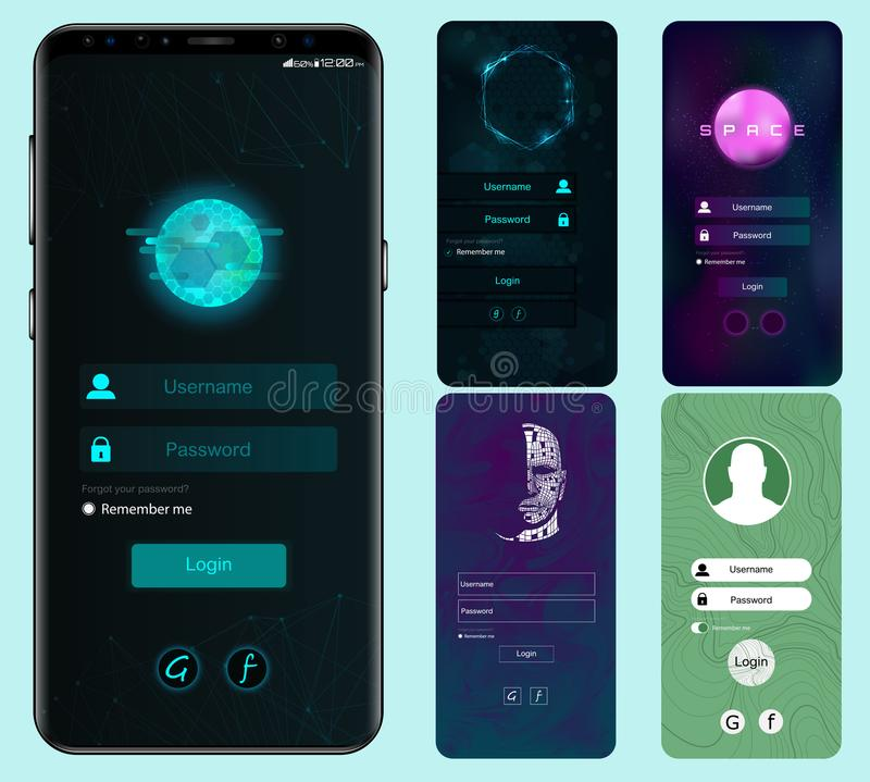 Login Screen Set. Material Design UI vector illustration