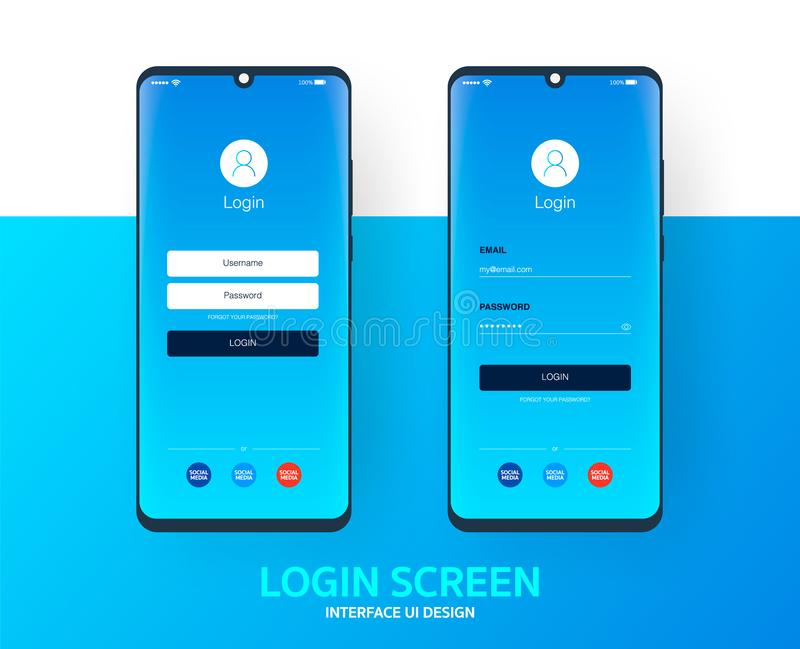 Login screen smartphone interface vector template, Mobile app page blue gradient design layout, Flat UI for application. Login screen smartphone interface vector stock illustration
