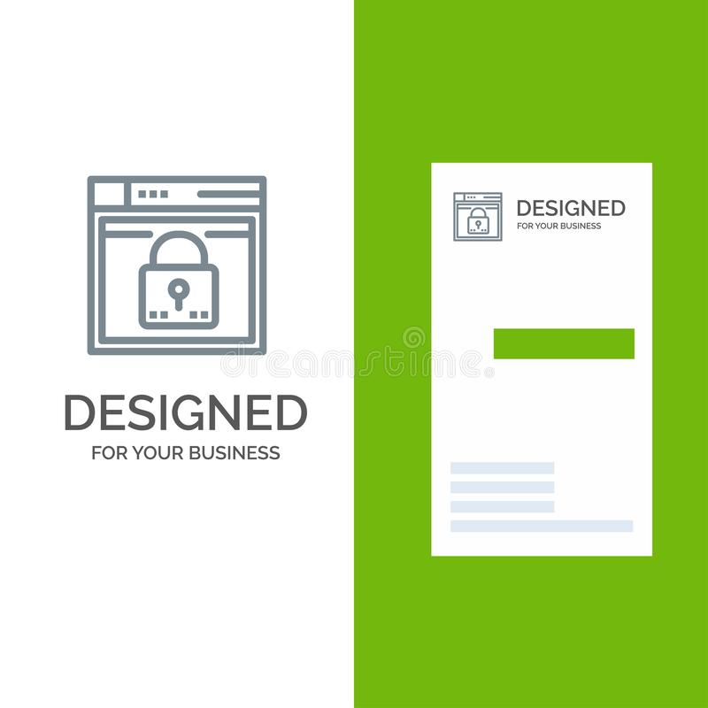 Login, Secure, Web, Layout, Password, Lock Grey Logo Design and Business Card Template royalty free illustration