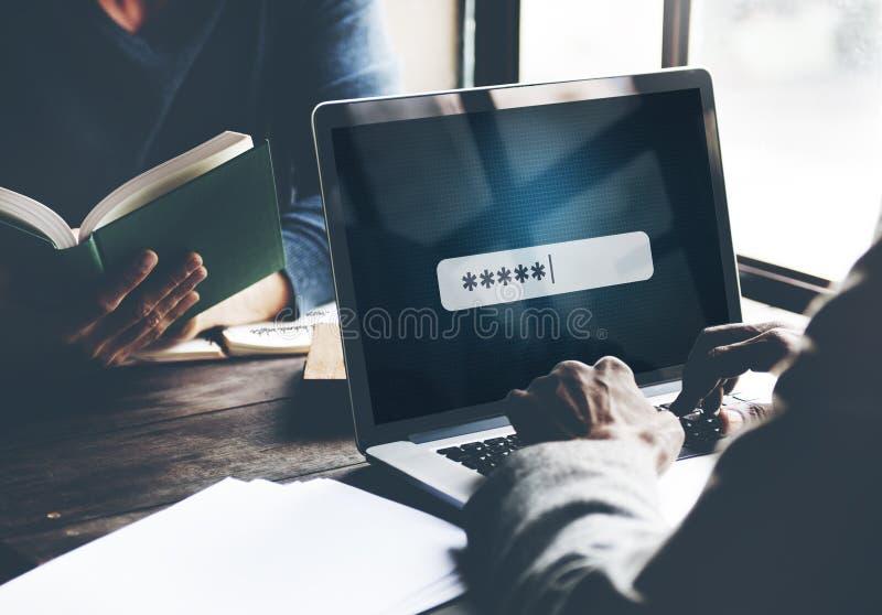 Login van de wachtwoordveiligheid Technologie Bedrijfsconcept royalty-vrije stock afbeelding