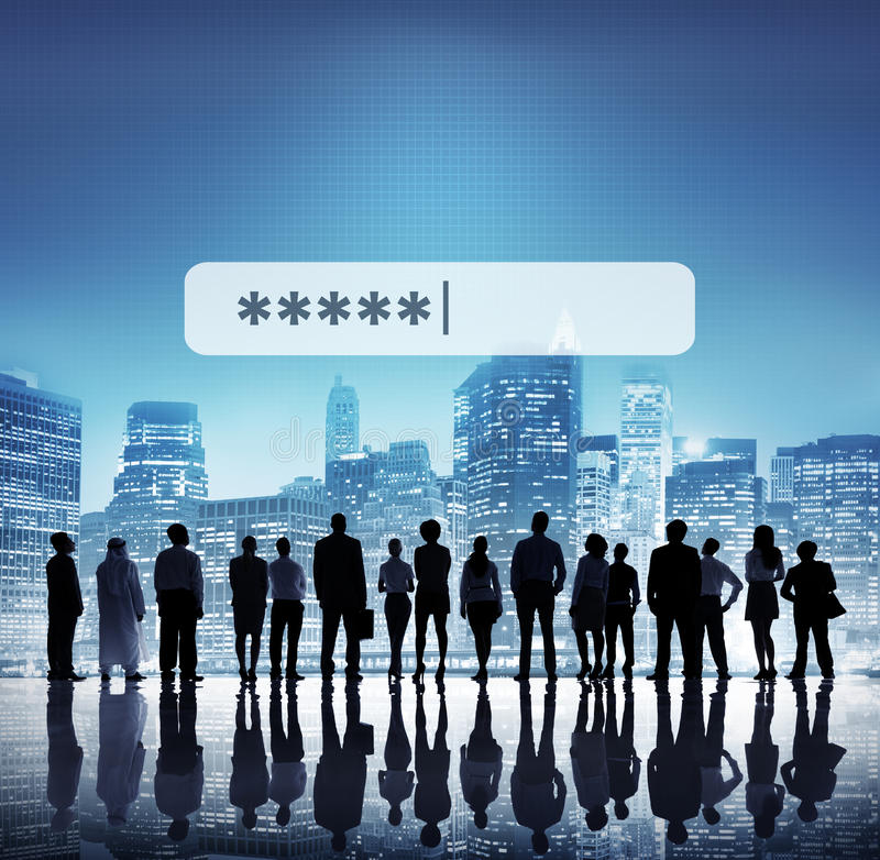 Login van de wachtwoordveiligheid Technologie Bedrijfsconcept stock foto's