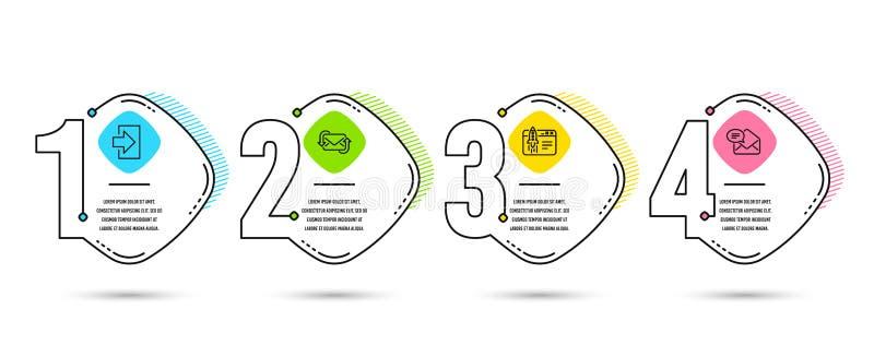 Login, verfrist post en Begin bedrijfspictogrammen Nieuw postteken Teken binnen, Nieuwe e-mail, Lanceringsidee Ontvangen e-mail V vector illustratie