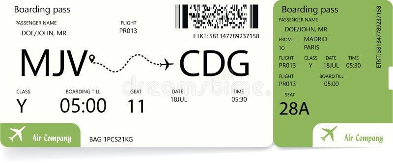 Logipasserande Grön flygplanbiljett royaltyfri illustrationer