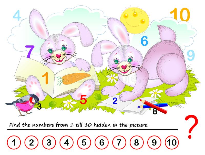 Logisch puzzelspel voor kinderen Wiskunde voor kleine kinderen Vind verborgen aantallen van 1 tot 10 stock illustratie