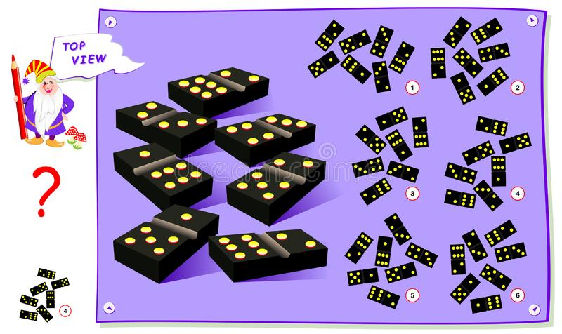 Logisch raadsel voor kinderen Behoefte om correcte hoogste mening van domino blokken te vinden Werkblad voor schoolboek vector illustratie