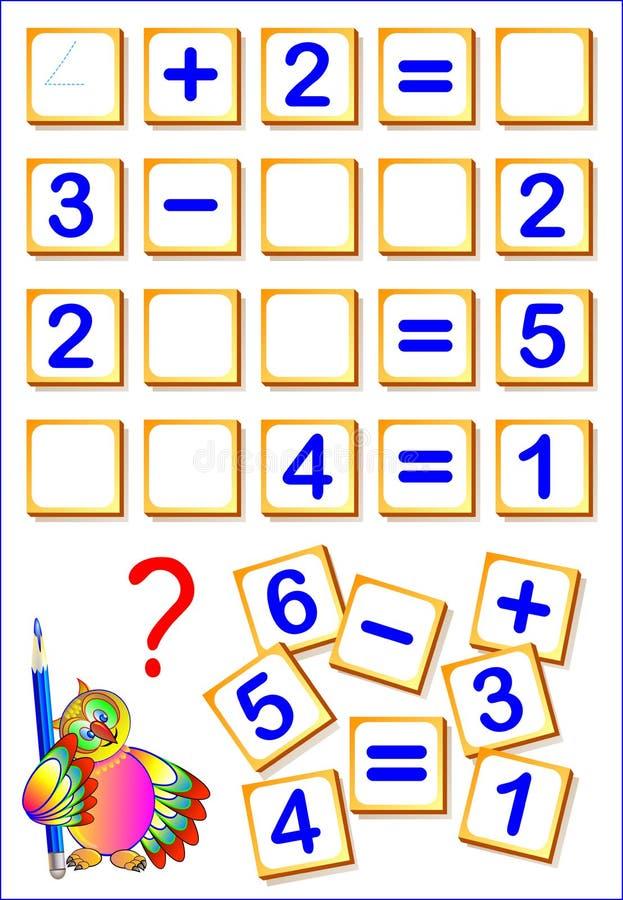 Logische Matheübungen für Kinder Müssen Sie die fehlenden Details, gelöste Beispiele finden und die Zahlen in relevante Plätze sc lizenzfreie abbildung