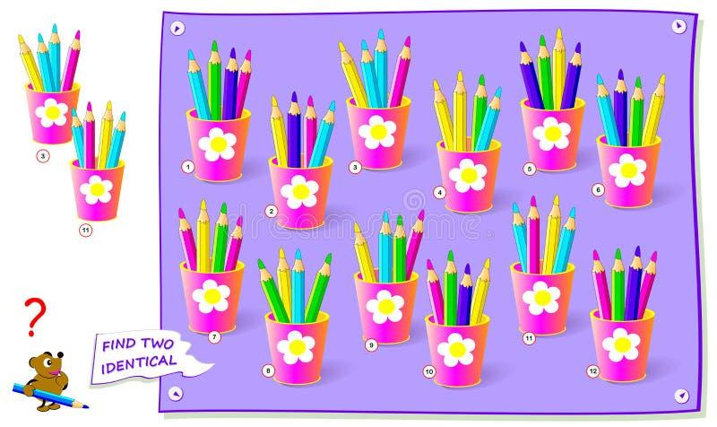 Logisches R?tselspiel f?r Kinder Finden Sie zwei identische Sätze Bleistifte Bedruckbare Seite für Babydenkaufgabebuch oder perio vektor abbildung