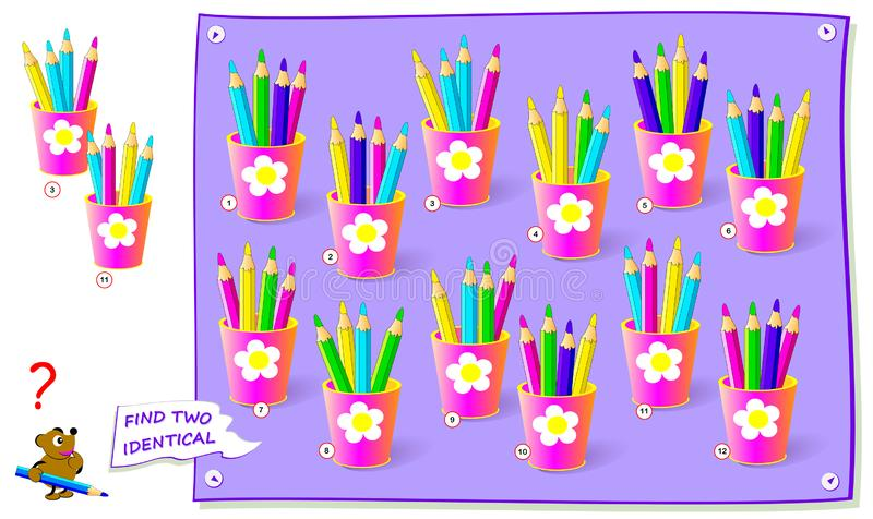 Logisk pussellek f?r ungar Finna två identiska uppsättningar av blyertspennor Den tryckbara sidan för behandla som ett barn hård  vektor illustrationer
