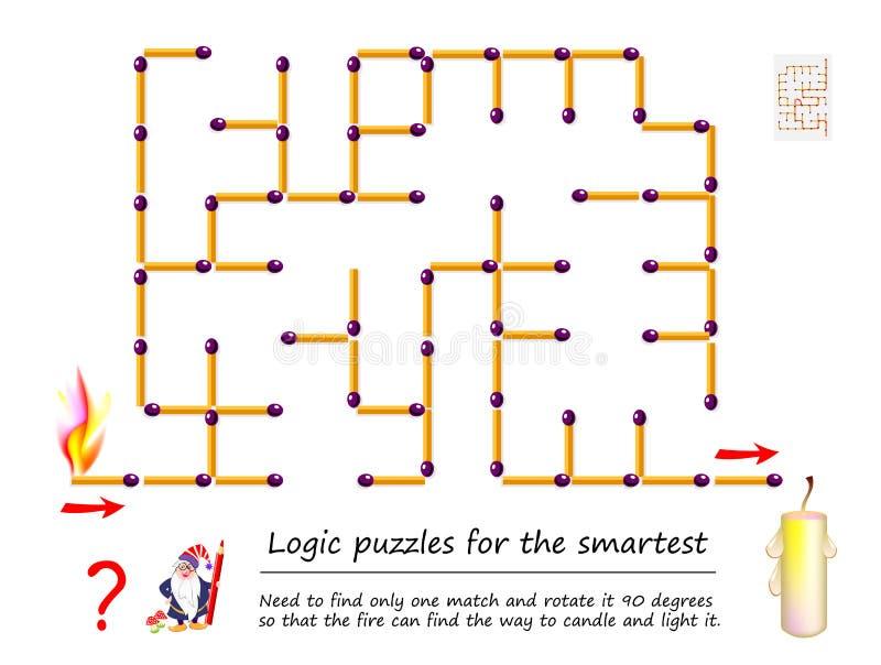 Logisk pussellek med labyrinten för barn Behöv finna endast en match och rotera den 90 grader royaltyfri illustrationer