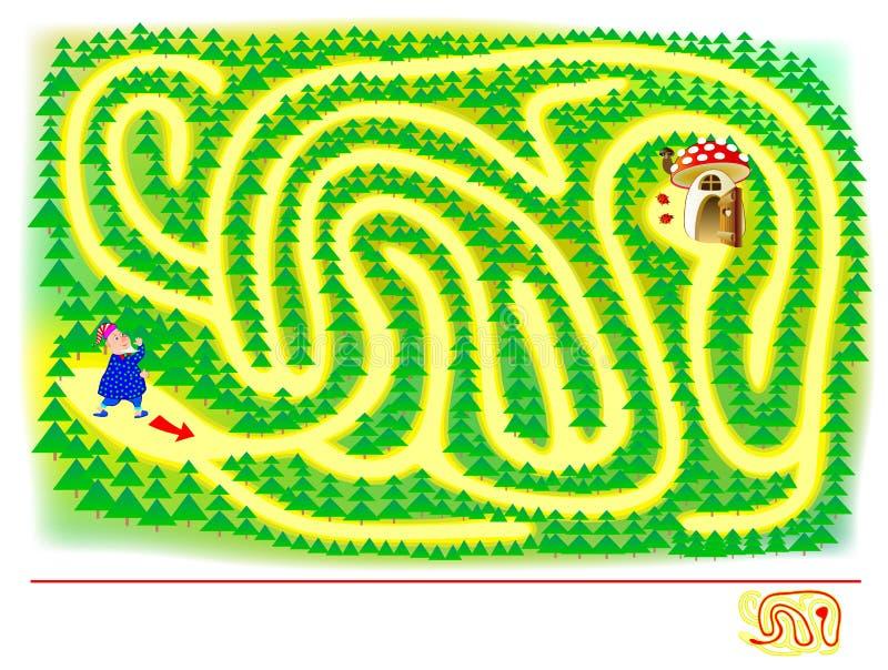 Logisk pussellek med labyrinten f?r barn och vuxna m?nniskor Den gulliga gnomen får förlorad hjälp honom för att finna vägen bruk stock illustrationer