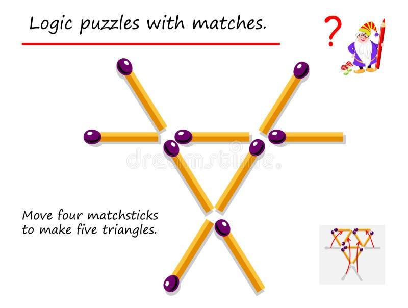 Logisk pussellek med matcher Behöv flytta fyra matchsticks för att göra fem trianglar Tryckbar sida f?r h?rd n?tbok royaltyfri illustrationer