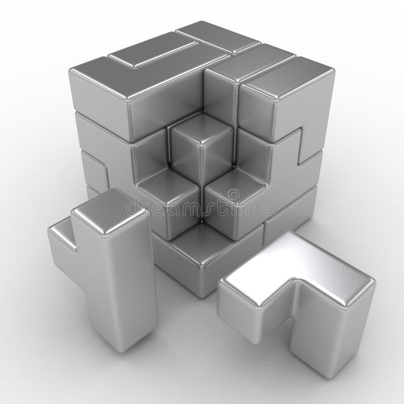 Logiskt kubpussel royaltyfri illustrationer