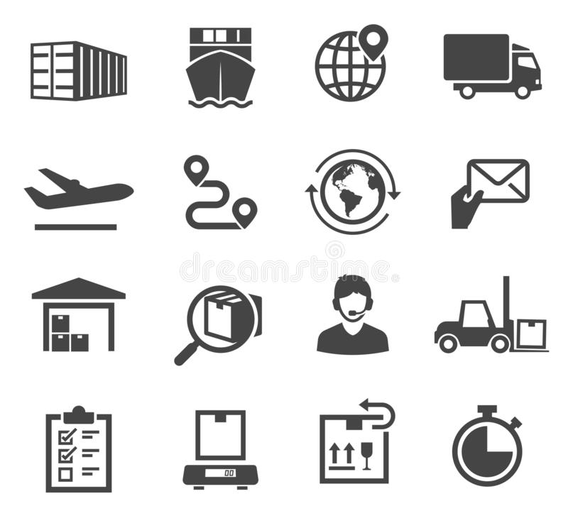 Logistic black and white glyph icons set royalty free illustration