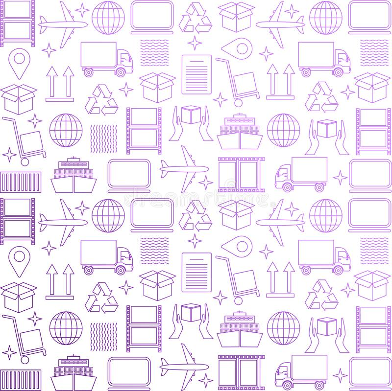 Logistic business wallpaper. Delivery and distribution pattern. Global logistics pattern in purple. Vector transportation illustr. Ation. Abstract background for royalty free illustration