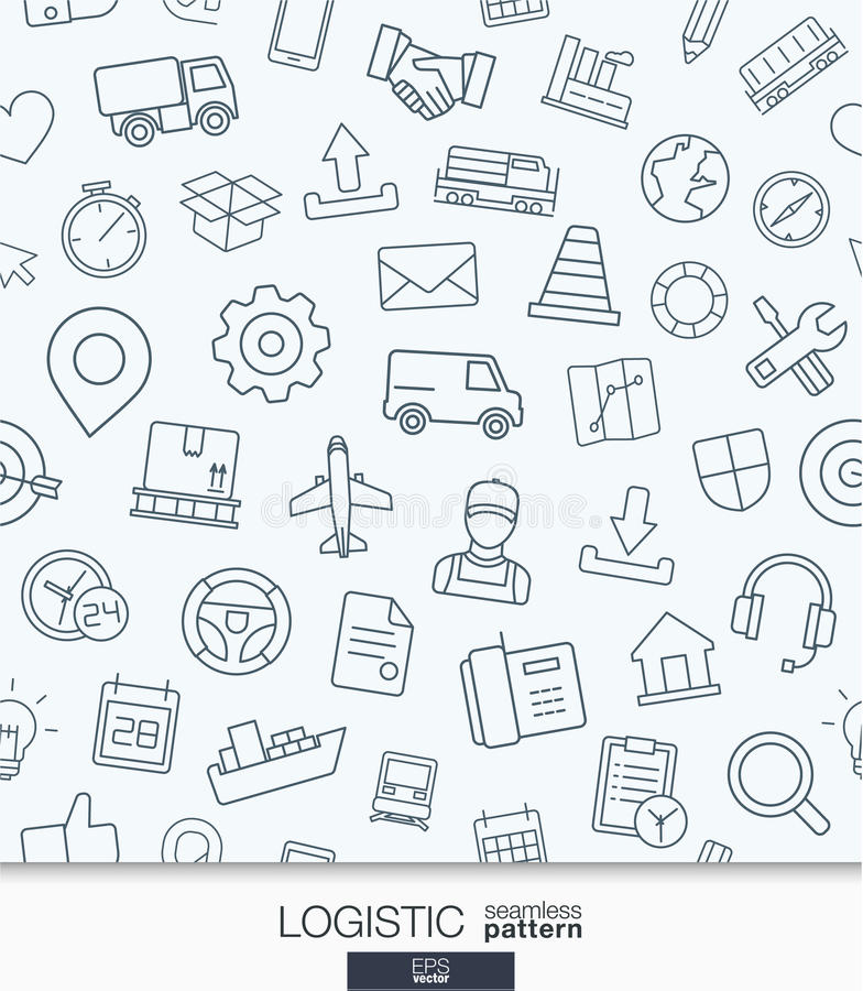 Logistic business wallpaper. Delivery and distribution seamless pattern. royalty free illustration