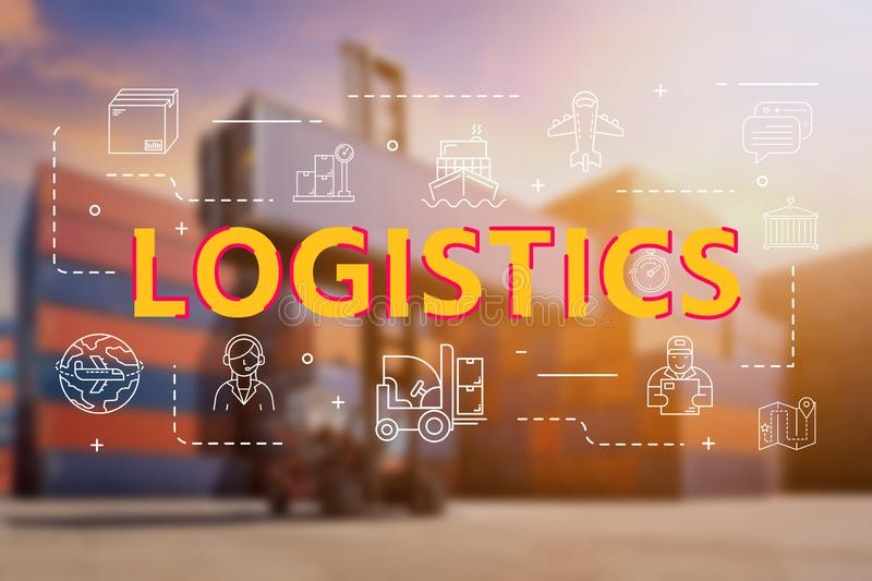 Logistic cargo container in shipping yard with Logistic outline icon. For worldwide logistics and shipping business concept stock photo
